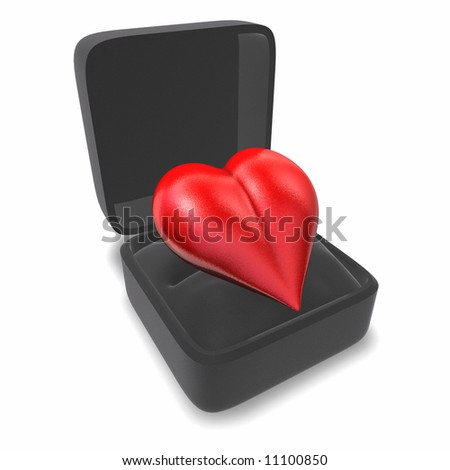 Heart in a ring box - stock photo