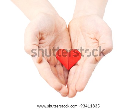 Heart in child hand
