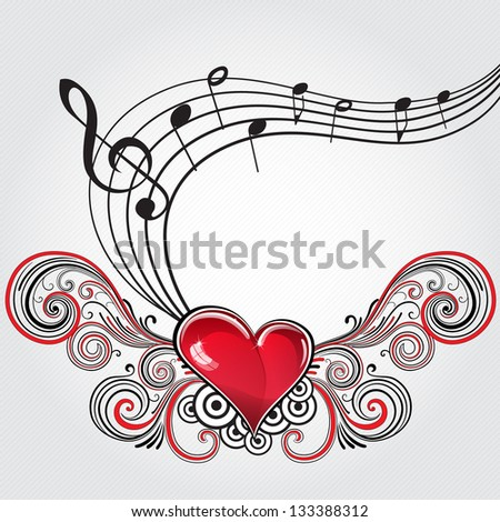 Heart in grunge style with musical notes and treble clef. Raster version. - stock photo
