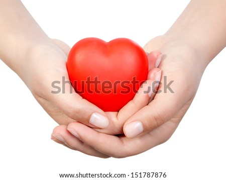 Heart in palms.Isolated on white   - stock photo