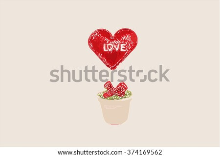 heart in pot , art style, valentine day - stock photo