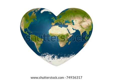heart in the form of planet earth - stock photo