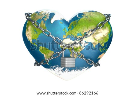 heart in the form of planet earth is closed to lock - stock photo