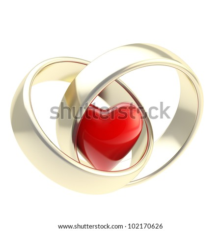 Heart inside two golden wedding rings isolated on white - stock photo