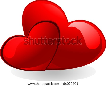 Heart Isolated/Two Heart - stock photo