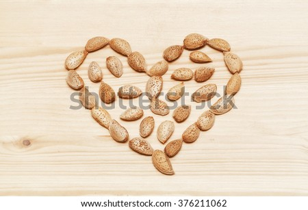 Heart laid out from almond