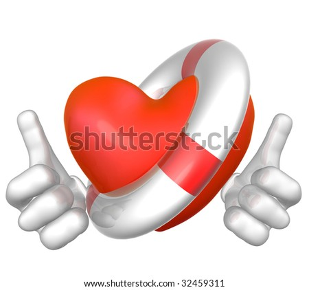 Heart lifebuoy - stock photo