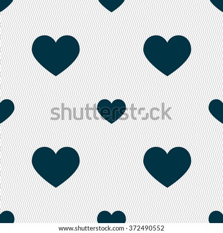 heart, love icon sign. Seamless pattern with geometric texture. illustration - stock photo