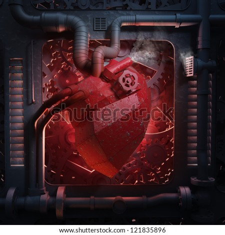 Heart machinery - mechanical heart background with industrial cogs and pipes - stock photo