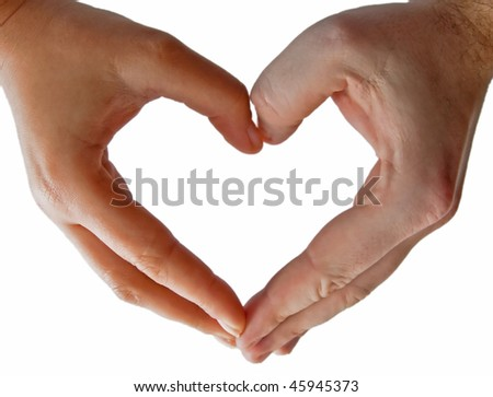Heart made from hands - stock photo