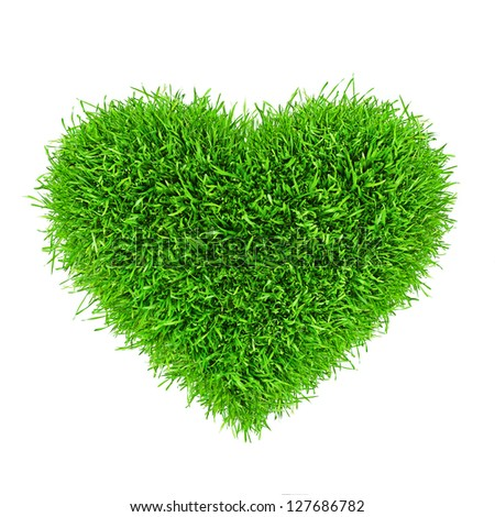 Heart made of healthy grass isolated on white - stock photo