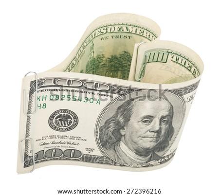 Heart made of hundred dollar bills - stock photo
