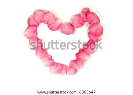 heart made of rose petals; isolated; white background - stock photo