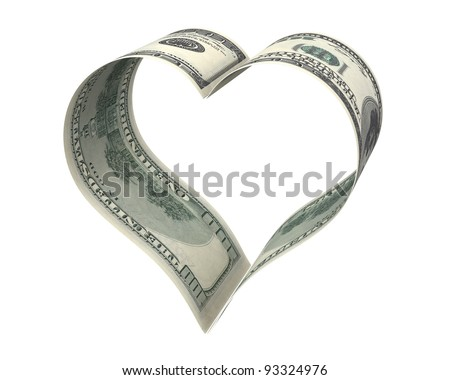 Heart made of two dollar papers, isolated on white background - stock photo