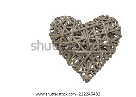 Heart made of wicker, labyrinth heart, holiday VALENTINES DAY, isolated on white - stock photo