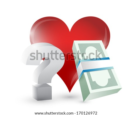 heart money and questions illustration design over a white background - stock photo