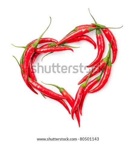heart of chili pepper isolated on white - stock photo