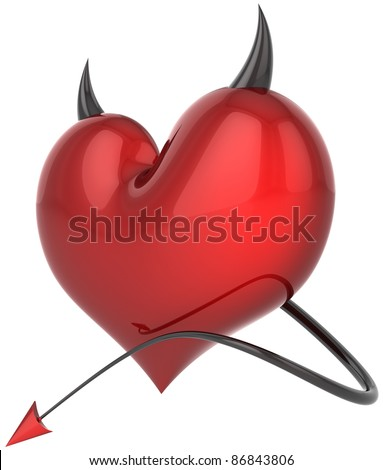 Heart of Devil satan colored shiny red with black sharp horns and a tail. Demon love abstract. Lover trap concept. Valentines day holiday symbol. Detailed 3d render. Isolated on white background - stock photo