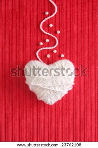 Heart of Knitting - Valentine's card - stock photo