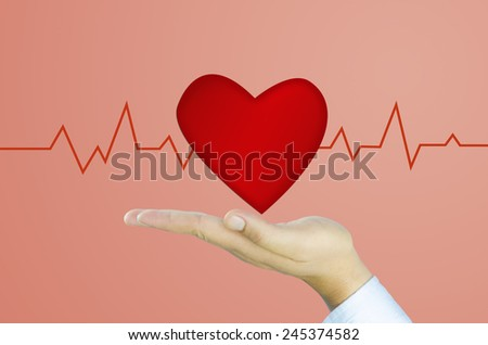 heart of love valentines day Human hand and heart