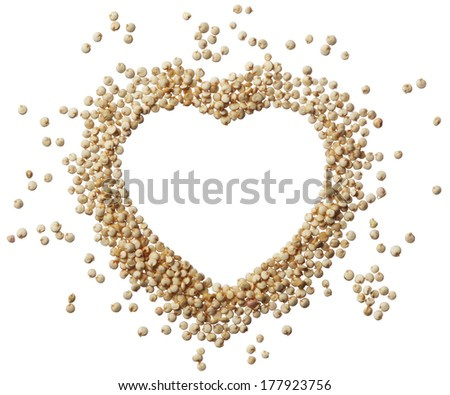 Heart of quinoa grain isolated on a white background - stock photo
