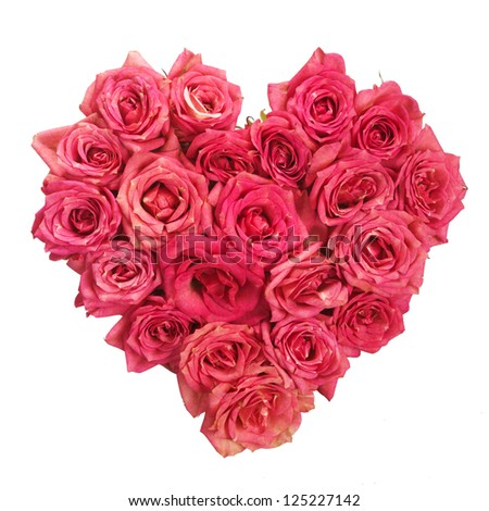 Heart of rose flowers - stock photo