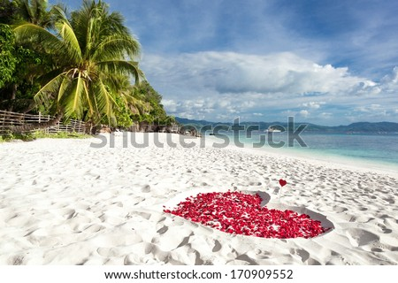 Heart of roses petals on tropical sandy beach. Nobody. Love concept - stock photo