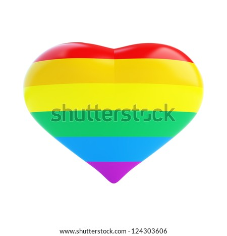 heart of the gay flag on a white background - stock photo