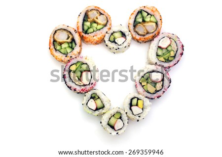 heart of the rolls on top on a white background isolated overwhite - stock photo