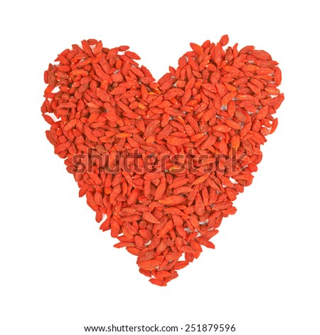 Heart of Tibetan barberry, red berry Goji isolated on white background - stock photo