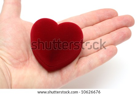 heart on man's palm - gift on valentine day