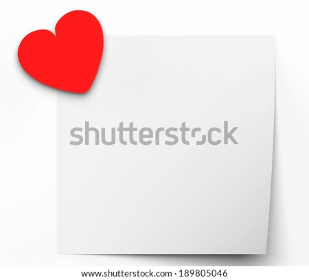 Heart On Note Meaning Lovely Message Or Love Letter - stock photo