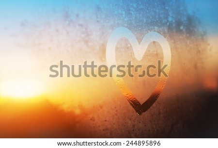 heart on the glass - stock photo