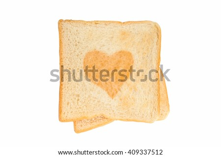 Heart on toast isolated on white background, top view.