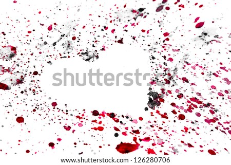 Heart on watercolor blots, hand painted background - stock photo