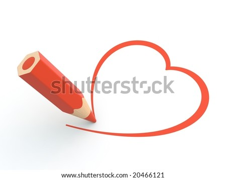 Heart pictured by pencil - stock photo