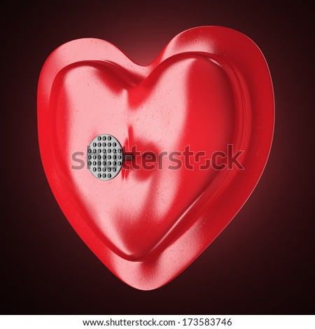 Heart pierced by a nail on dark red background. 3d illustration - stock photo
