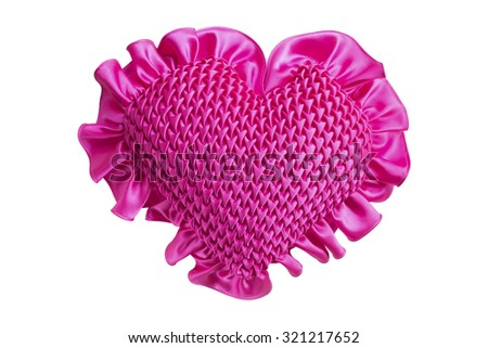 Heart pillow isolated on white background - stock photo