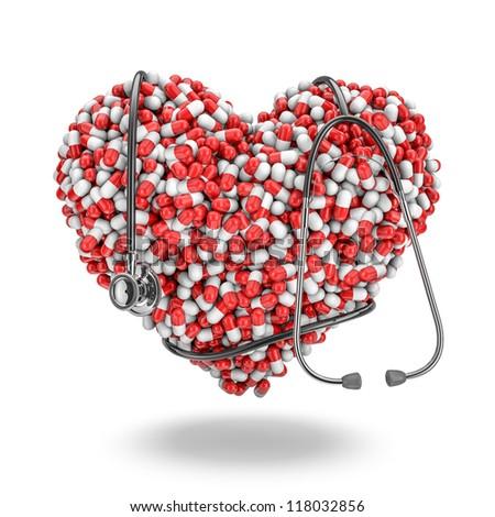 Heart pills stethoscope - stock photo