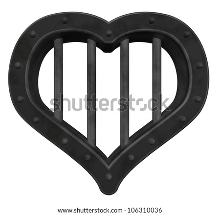 heart prison window on white background - 3d illustration - stock photo