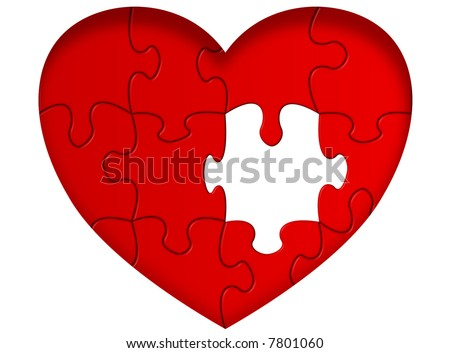 Heart puzzle with missing piece - stock photo