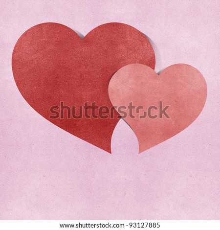 heart  recycled papercraft on white background - stock photo