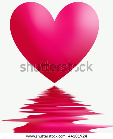 heart reflection in water - stock photo