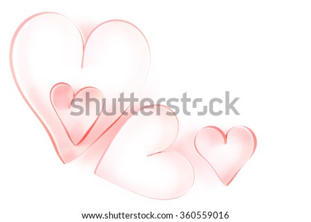 heart ribbon isolated on white, valentines day concept