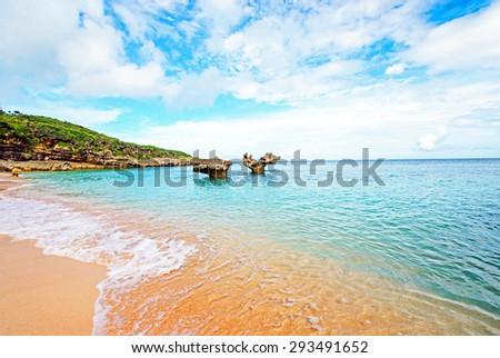 Heart rock and a nice beach, Okinawa, Japan - stock photo