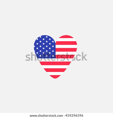 Heart shape american flag Star and strip icon. Flat design