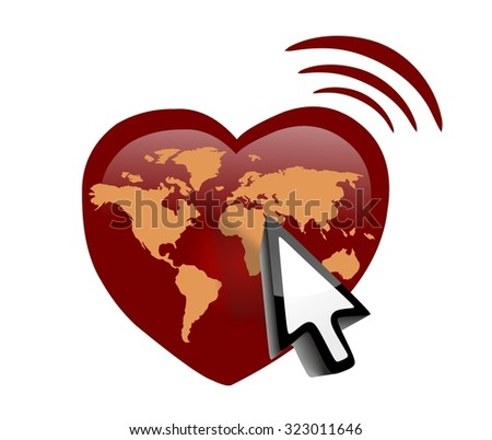 Heart shape and online connect - red heart with world map - stock photo