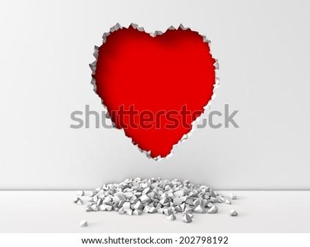 heart shape broken wall - stock photo