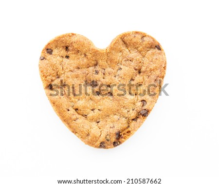 Heart shape chocolate chip cookie isolated  - stock photo