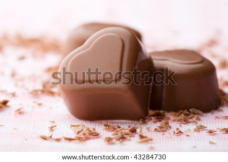 Heart shape chocolate with chocolate sprinkles for valentine's day - stock photo
